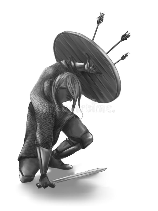 Młody Viking wojownik z osłoną ilustracji