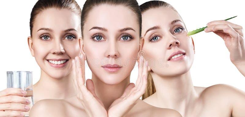 Młodych kobiet przedstawień proces skóry czyścić obraz royalty free