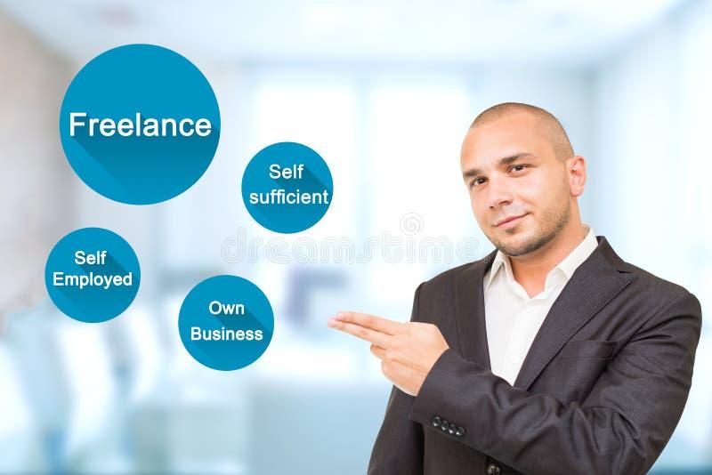 Młodych przystojnych mężczyzna przedstawień znacząco atrybuty w Freelance pracie obraz stock