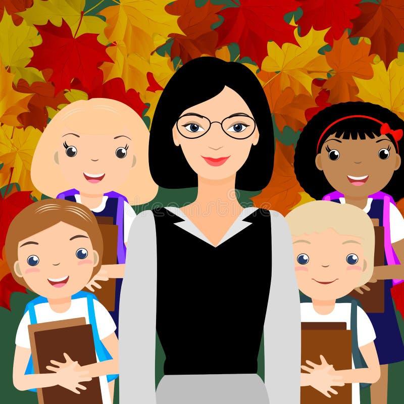 Młodzi żeńskiego nauczyciela i dzieciaka ucznie royalty ilustracja