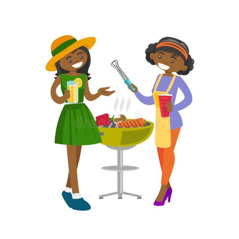 Młodzi afrykańscy przyjaciele ma zabawę przy grilla przyjęciem ilustracja wektor