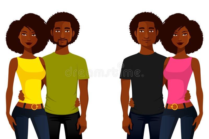 Młodzi amerykan afrykańskiego pochodzenia ludzie ilustracja wektor