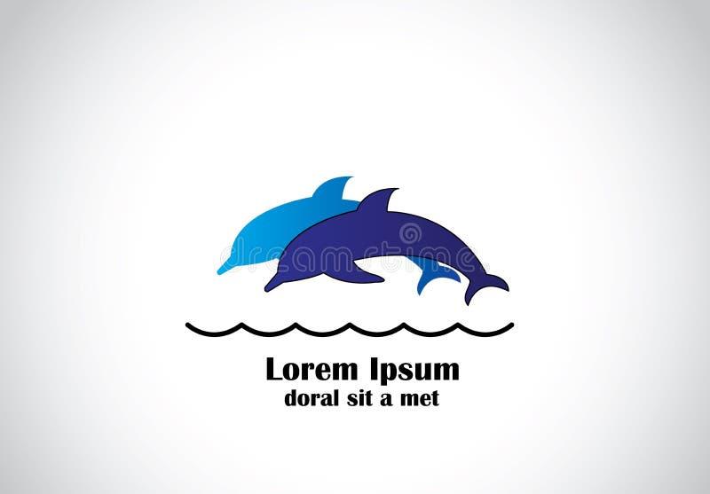 Młodzi błękitni szczęśliwi delfiny skacze wpólnie w oceanu pojęcie ilustracja wektor