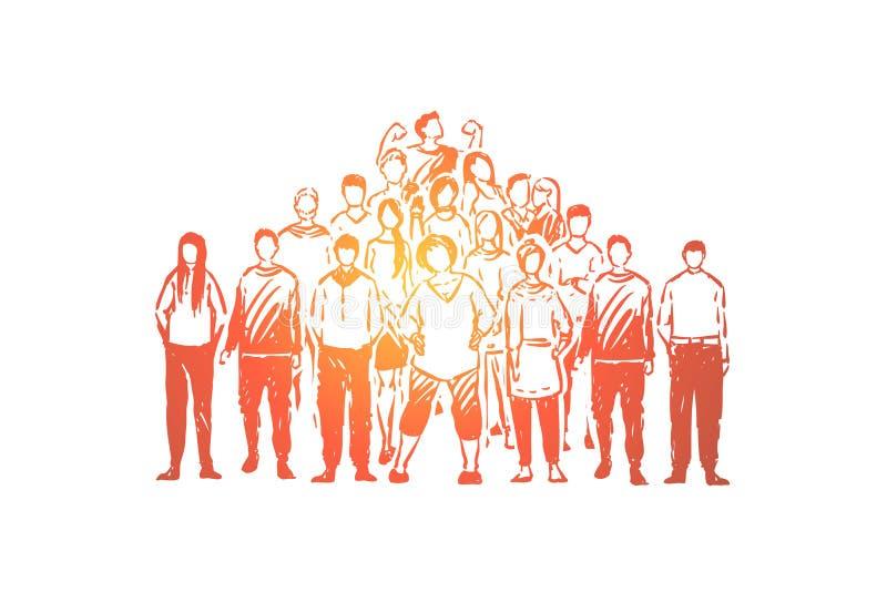 Młodzi beztwarzowi ludzie, życzliwy związek, przyjaciel więź, uczeń drużyna, demonstracja, socjologia ilustracji