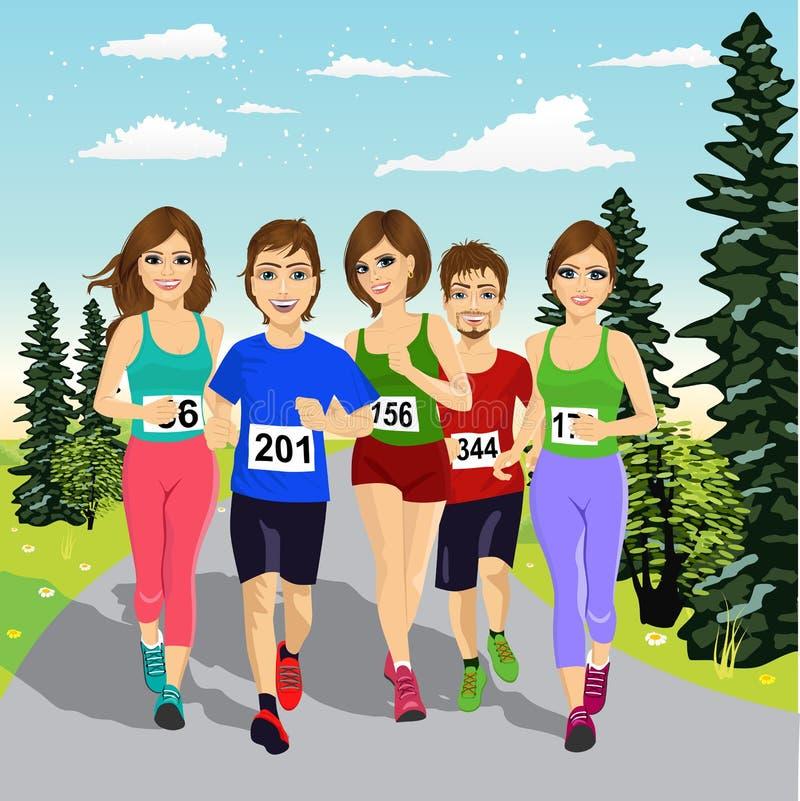 Młodzi biegacze biega maraton rywalizację royalty ilustracja
