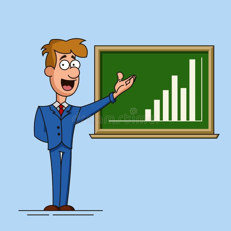 Młodzi biznesmenów punkty wzrostowa mapa rysująca na zarządzie szkoły Ilustracja w kreskówka stylu royalty ilustracja