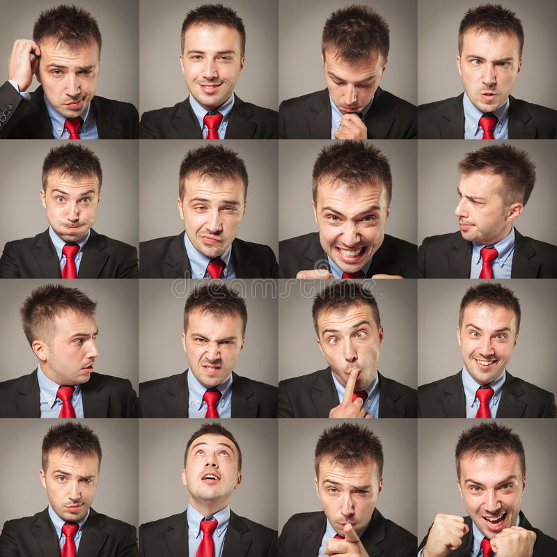 Młodzi biznesowego mężczyzna twarzy wyrażenia złożeni zdjęcia royalty free