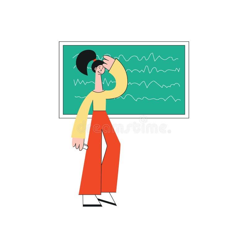 Młodzi brunetki dziewczyna, uczeń lub uczennica w spodniach, stoimy blisko kredowej deski ilustracji