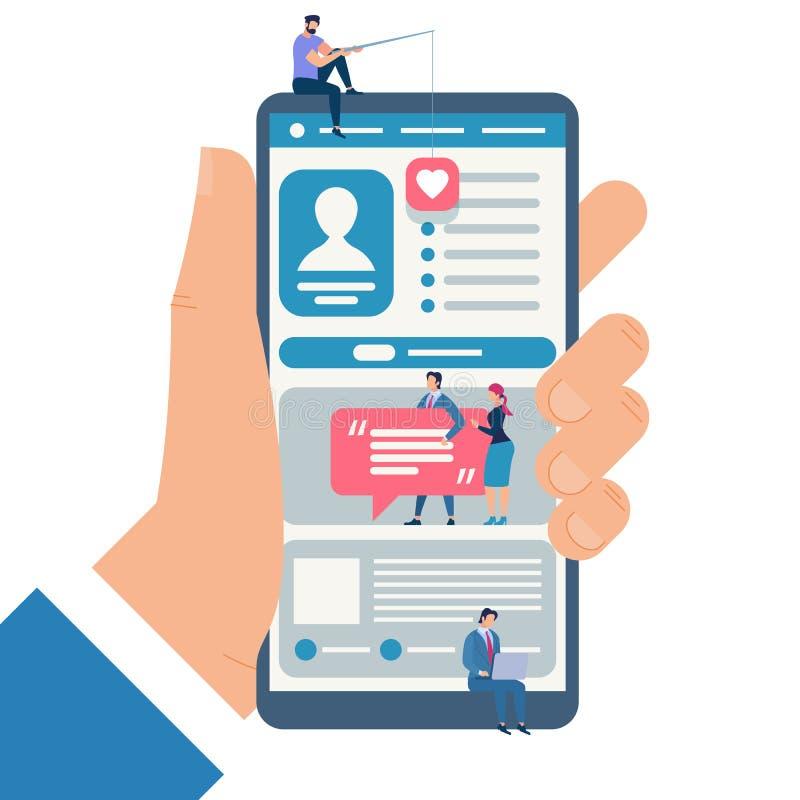 Młodzi Człowiecy i kobiety Komunikuje w internecie ilustracji