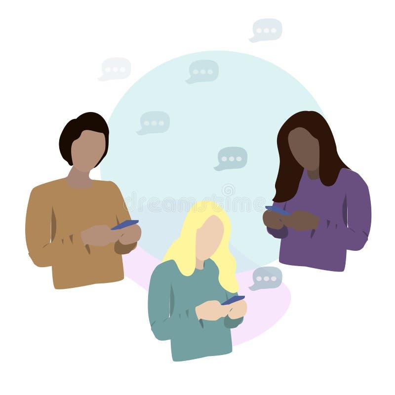 Młodzi człowiecy i kobiety różne rasy patrzeje ich telefony i wysyła wiadomości Pojęcie nałóg ogólnospołeczni środki ilustracji