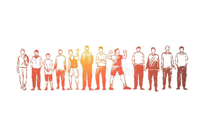 Młodzi człowiecy stoi wpólnie, dorosli i nastolatkowie, beztwarzowi ludzie w przypadkowych ubraniach, przyjaciele komunikacyjni ilustracji