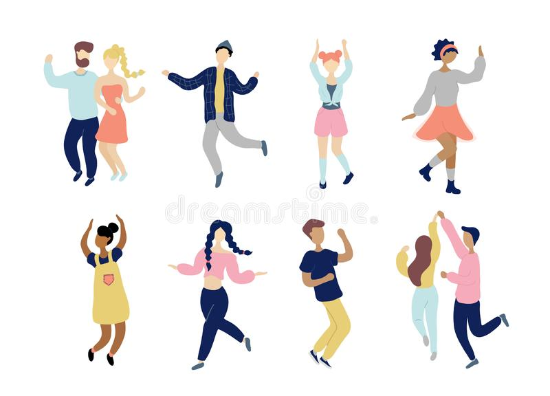 M?odzi dancingowi malutcy eleganccy ludzie ustawiaj?cy royalty ilustracja