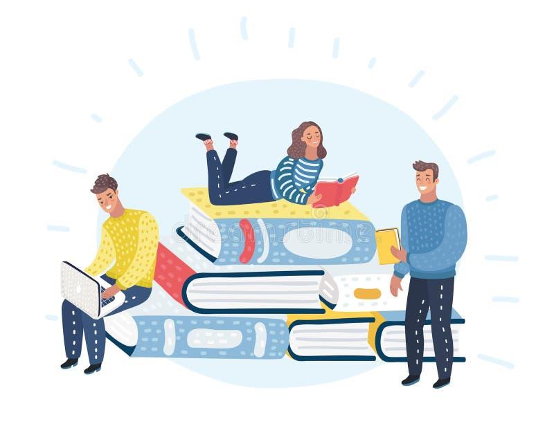 Młodzi eleganccy męscy, żeńscy czytelnicy siedzi na stercie i obok go i czytać Literatura kochankowie lub fan ilustracja wektor