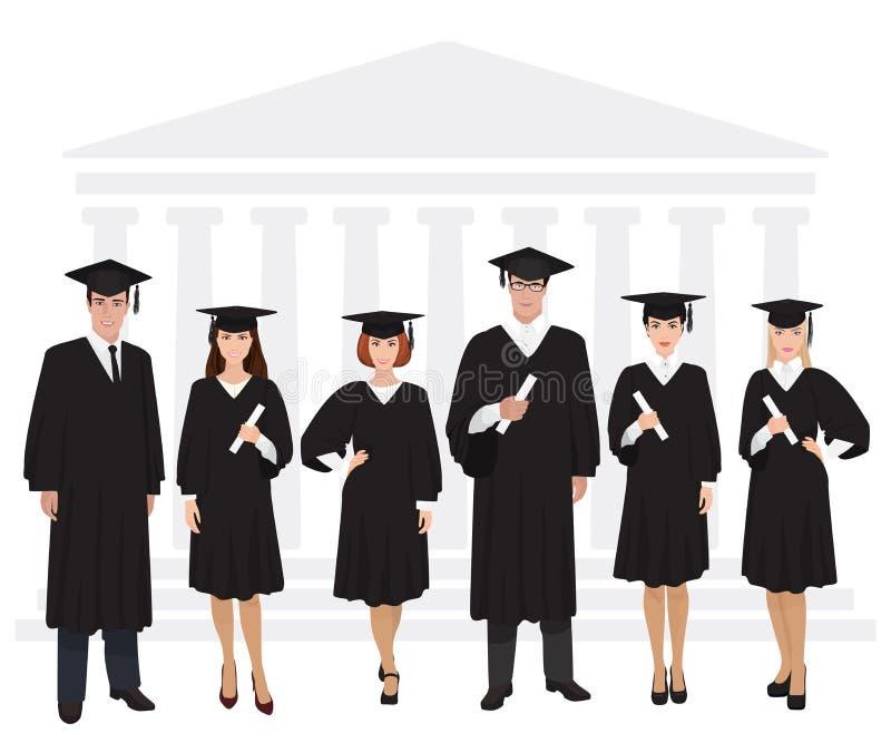 Młodzi faceci i dziewczyna absolwenci stoi przed uniwersyteckim budynku mienia dyplomem również zwrócić corel ilustracji wektora ilustracja wektor