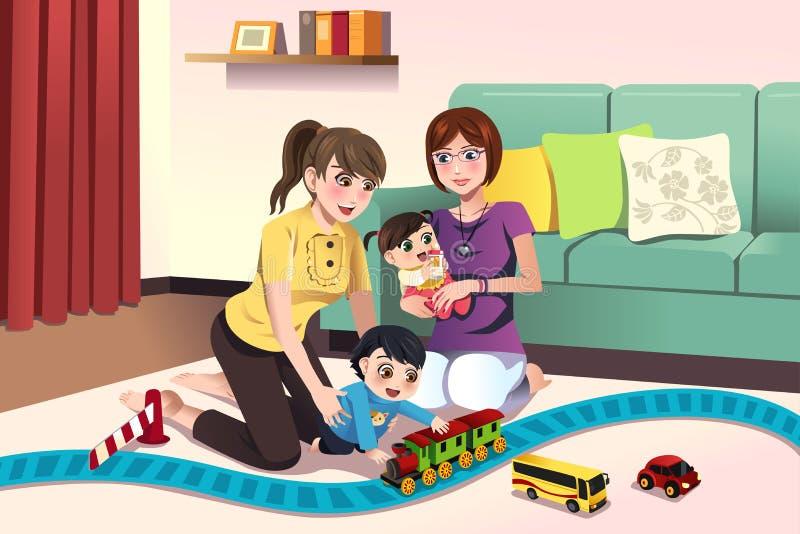 Młodzi lesbian rodzice bawić się z ich dzieciakami ilustracja wektor