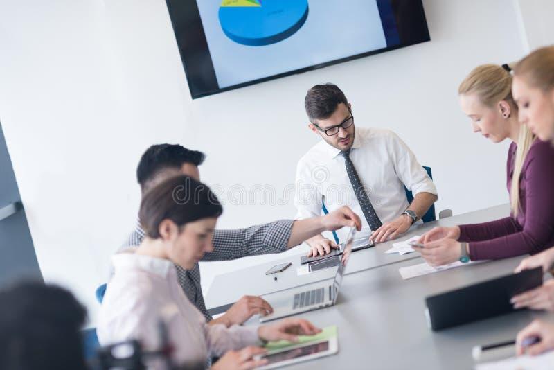 Młodzi ludzie biznesu grupy na drużynowym spotkaniu przy nowożytnym biurem obrazy royalty free
