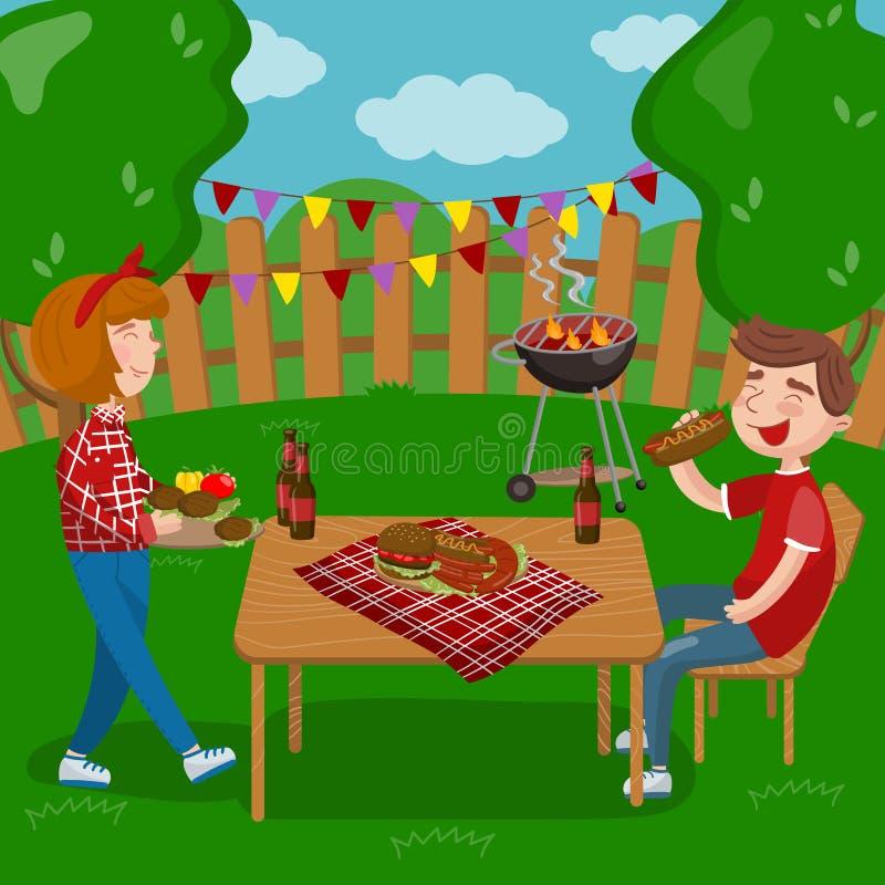 Młodzi ludzie gotuje bbq i je podczas gdy siedzący w ogródzie, grilla przyjęcie w wakacyjnych kreskówka wektoru ilustracjach royalty ilustracja