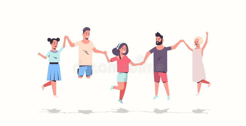Młodzi ludzie grupują mienie ręk mężczyzn kobiety skacze wpólnie przyjaciół ma zabaw męskie żeńskie postacie z kreskówki folować ilustracji