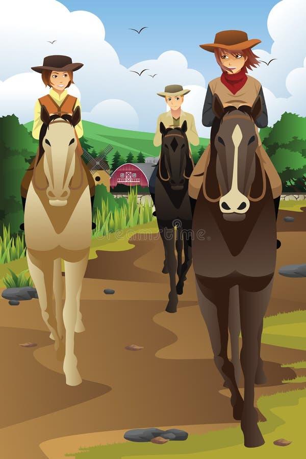 Młodzi ludzie horseback jazdy w rancho ilustracji