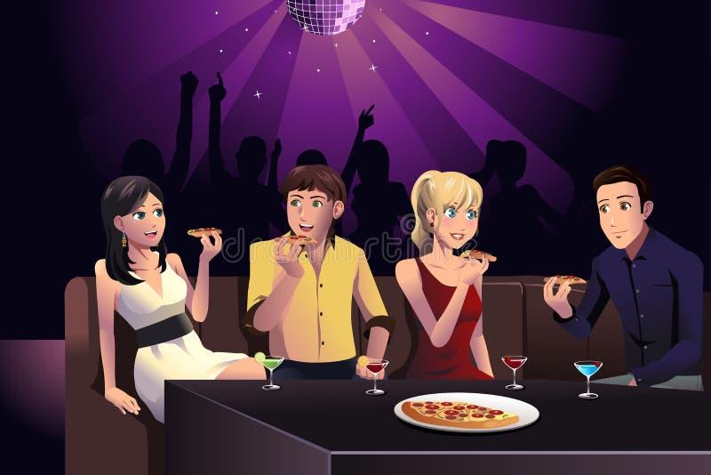 Młodzi ludzie je pizzę royalty ilustracja