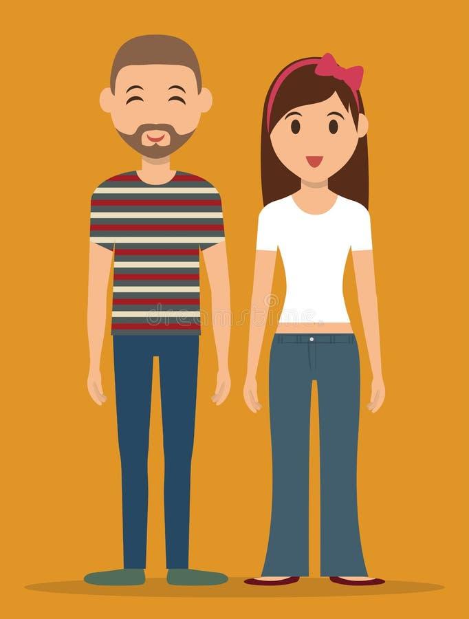 Młodzi ludzie kreskówek royalty ilustracja
