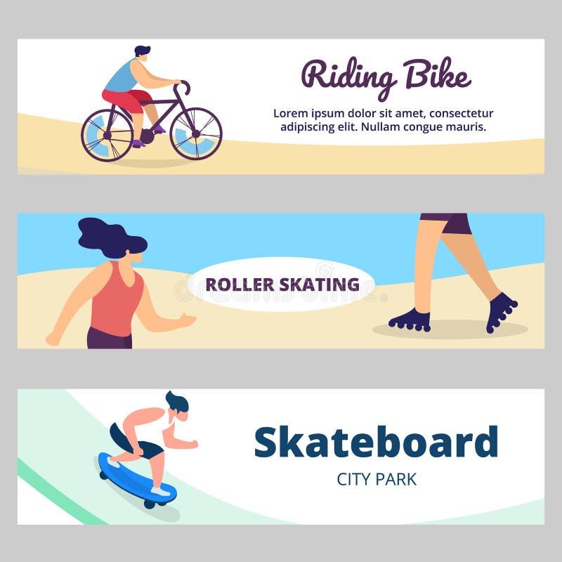Młodzi Ludzie lato czasu sportów aktywności w parku ilustracji