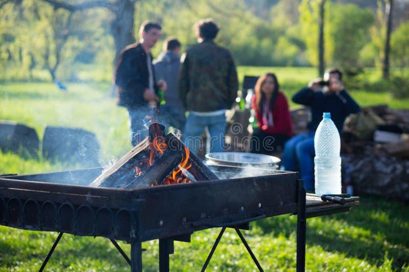 Młodzi ludzie ma grilla out w ogródzie zdjęcie stock