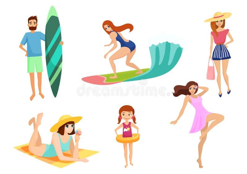 Młodzi ludzie na wakacje plaży secie i Wakacje Letni Ustawiający wyrzucać na brzeg, relaksuje, cieszy się i bawi się aktywność bl ilustracji
