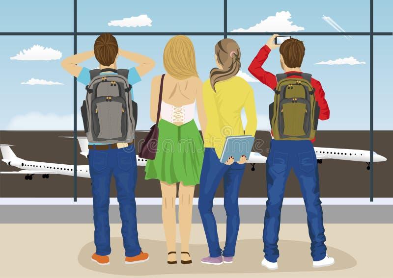 Młodzi ludzie przeciw okno lotniskowy obserwacja pokładu przyglądający samolotowy parking royalty ilustracja