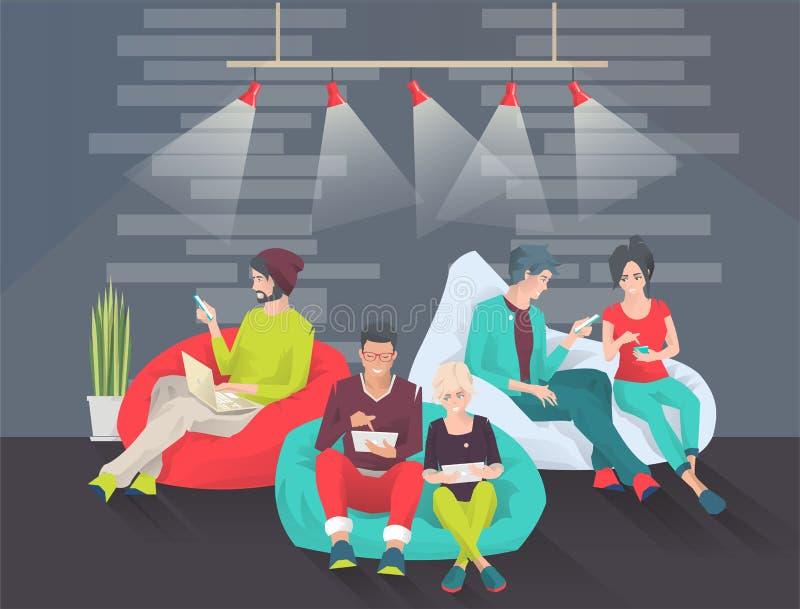 Młodzi ludzie siedzą na bobowej torbie z różnymi gudgets ilustracji