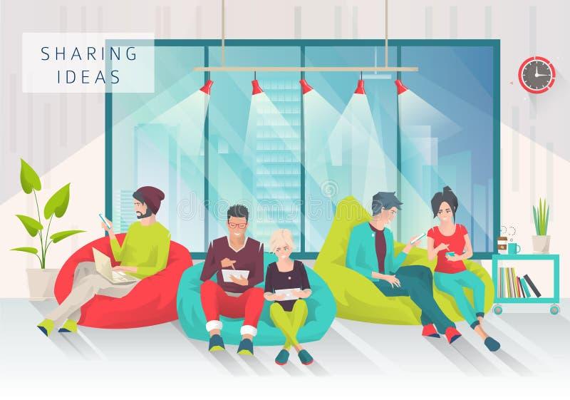 Młodzi ludzie siedzą na bobowej torbie z różnymi gudgets ilustracja wektor