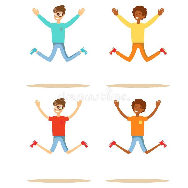 Młodzi ludzie skacze na białym tle Set ilustracja wektor