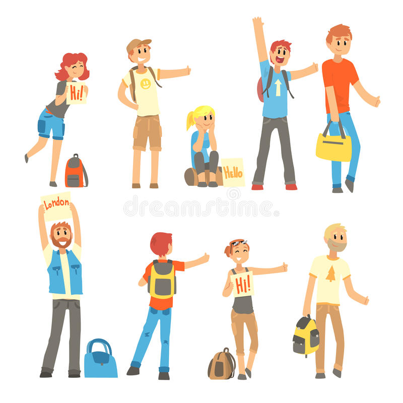 Młodzi ludzie stoi z znakiem hitchhiking i podnoszącym ich kciuk up ustawiający royalty ilustracja