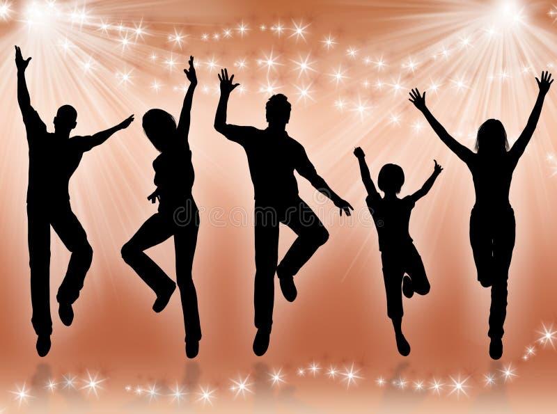młodzi ludzie tańczące ilustracja wektor