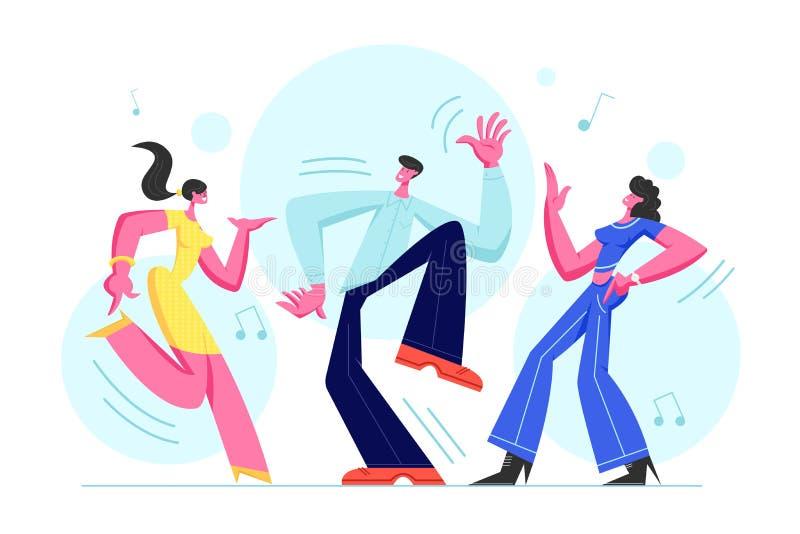 Młodzi Ludzie Tanczy na dyskoteki przyjęciu Mężczyzna i kobiety w Fasonującym Ubraniowym odświętność wakacje, Wydaje cza ilustracja wektor