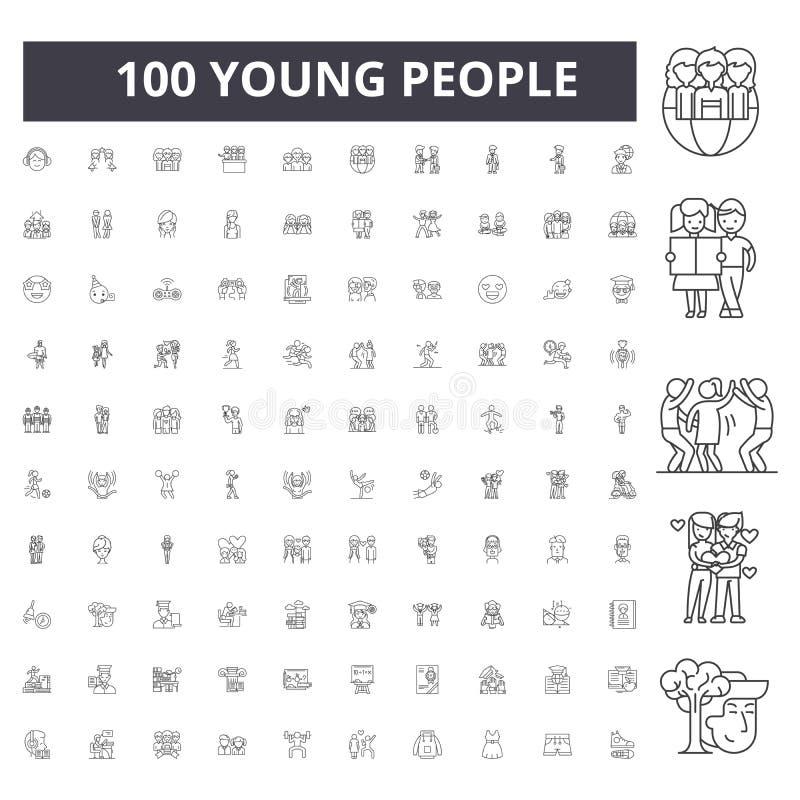 Młodzi ludzie wykładają ikony, znaki, wektoru set, kontur ilustracji pojęcie fotografia stock