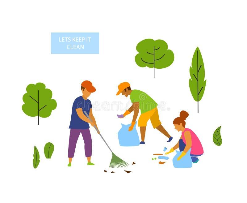 Młodzi ludzie zgłaszać się na ochotnika czyścić up park odizolowywającą wektorową grafikę ilustracji