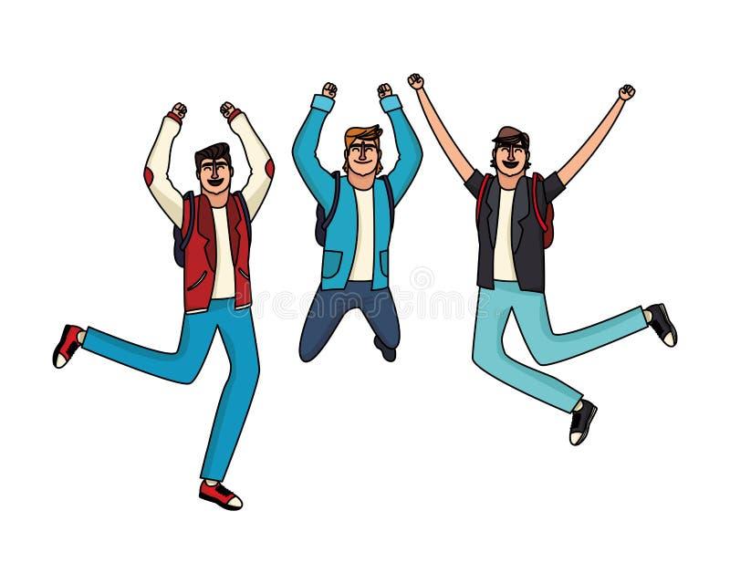 Młodzi męscy przyjaciele ilustracji