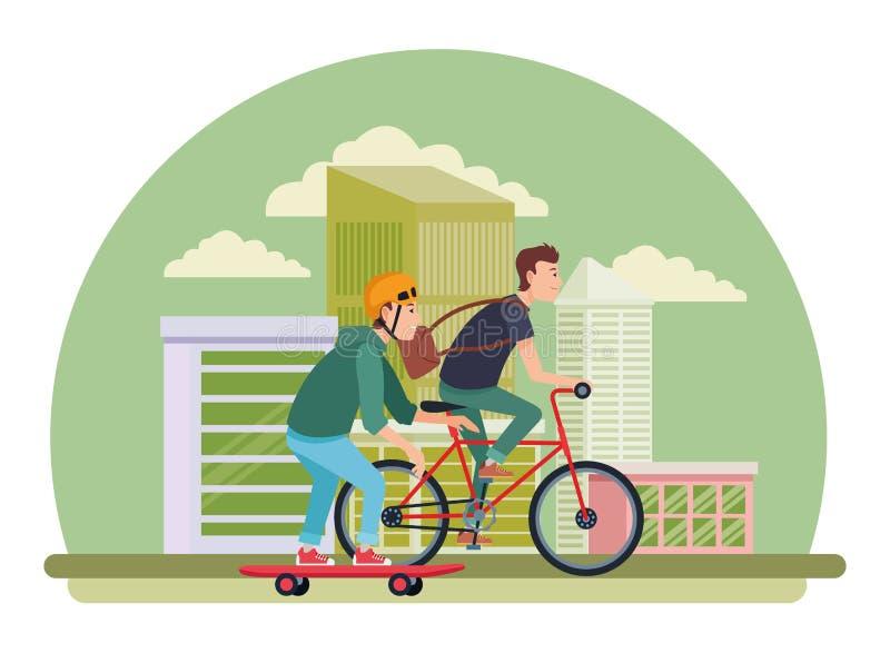 Młodzi męscy przyjaciele z rowerem i deskorolka ilustracji
