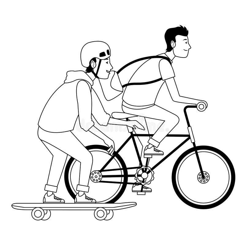 Młodzi męscy przyjaciele z rowerem i deskorolka w czarny i biały ilustracji