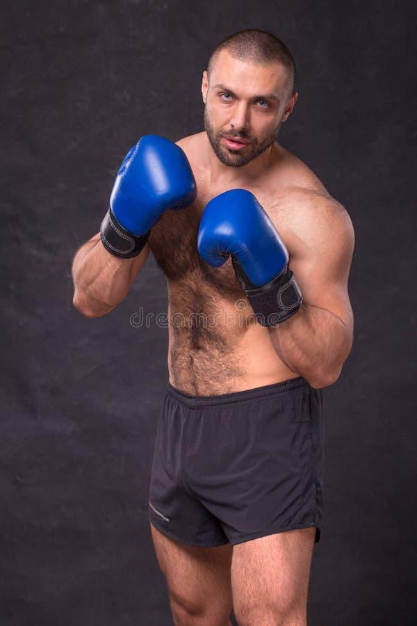 Młodzi mięśniowi kickboxing wojowników ćwiczy kopnięcia Kopie boksera robi ćwiczeniu dla walki pojęcie zdrowy styl życia obrazy stock