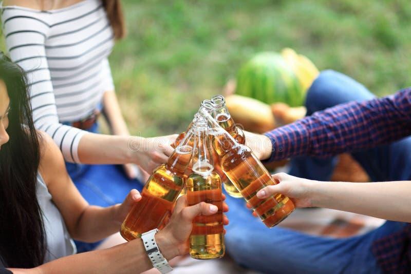 Młodzi przyjaciele ma zabawę outdoors, clinking butelki piwo fotografia stock