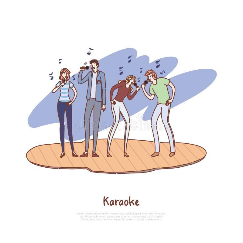 Młodzi przyjaciele ma zabawę, szczęśliwi mężczyźni i kobiety trzyma mikrofony wpólnie, muzykalny występ, karaoke koncertowy sztan royalty ilustracja
