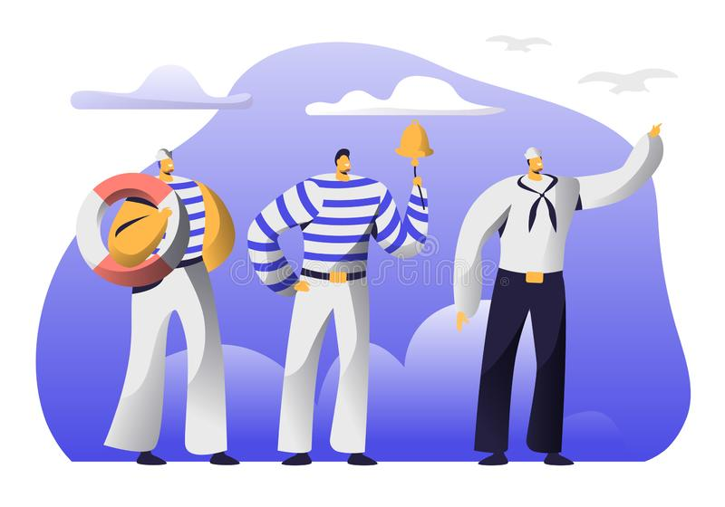 Młodzi Przystojni żeglarzi przy pracą Męscy charaktery Trzyma w rękach Lifebuoy w Jednolitych i Obdzierać kamizelkach, Dzwoni Bel royalty ilustracja