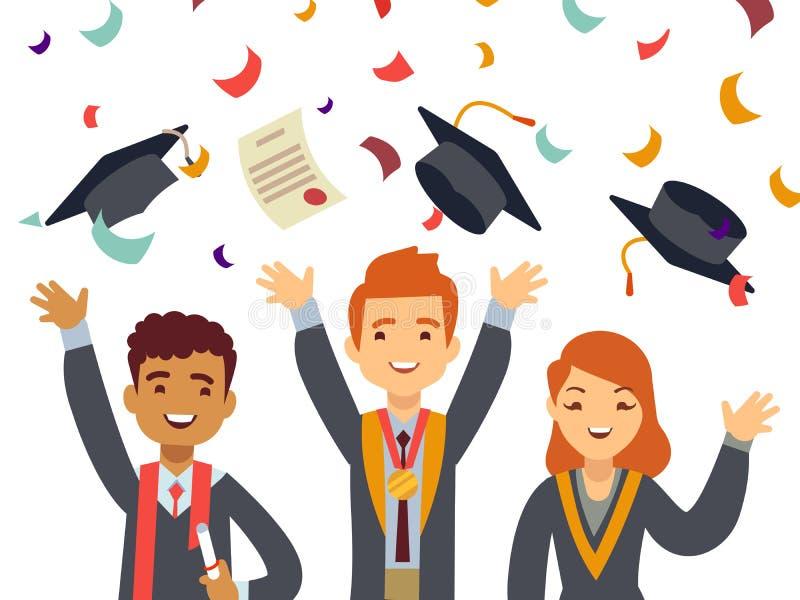 Młodzi szczęśliwi absolwenci z magisterskimi nakrętkami i spada confetti ilustracji