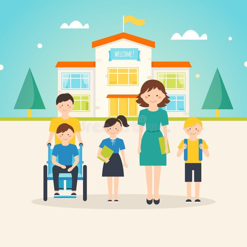 Młodzi ucznie, dziecko z dodatek specjalny potrzebami i żeński nauczyciel przed budynkiem szkoły z znakiem powitalnym, royalty ilustracja