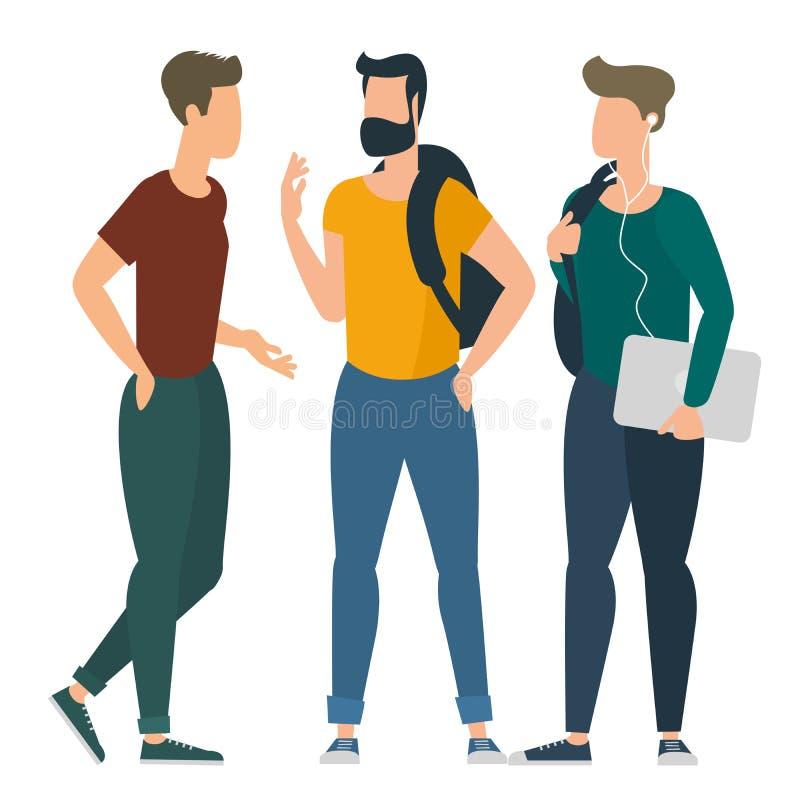 Młodzi ucznie komunikuje przy szkołą wyższa royalty ilustracja