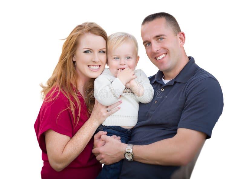 Młodzi wojskowych rodzice, dziecko Na bielu i fotografia stock