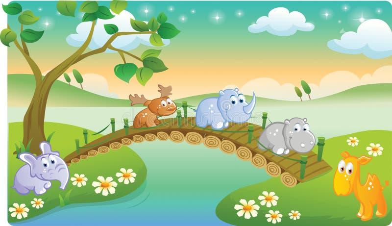 Młodzi zwierzęta bawić się z piękną scenerią royalty ilustracja