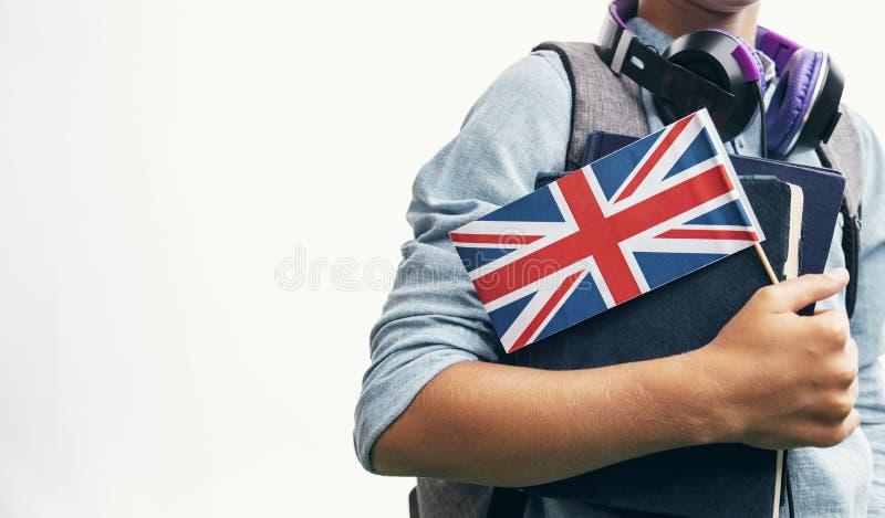 Młodzieniec Demonstruje Brytyjski flagi zbliżenie obraz royalty free